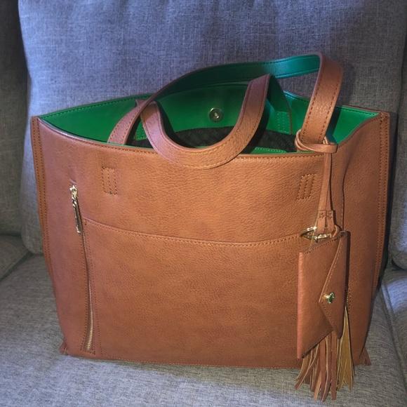 Steve Madden Handbags - Steve Madden large green & Tan tote